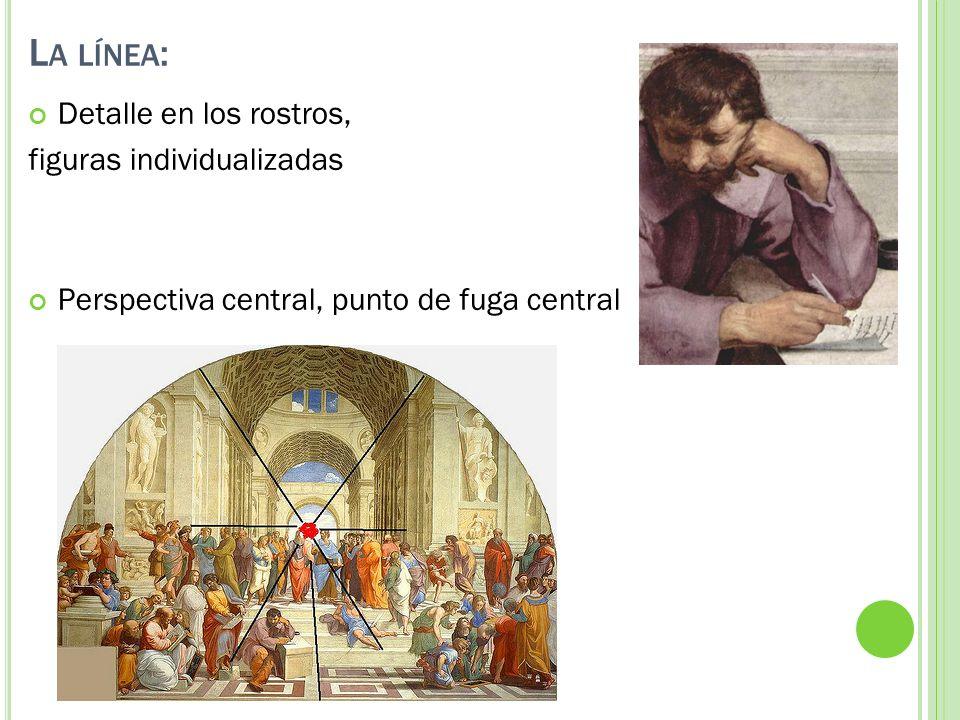 L A LÍNEA : Detalle en los rostros, figuras individualizadas Perspectiva central, punto de fuga central
