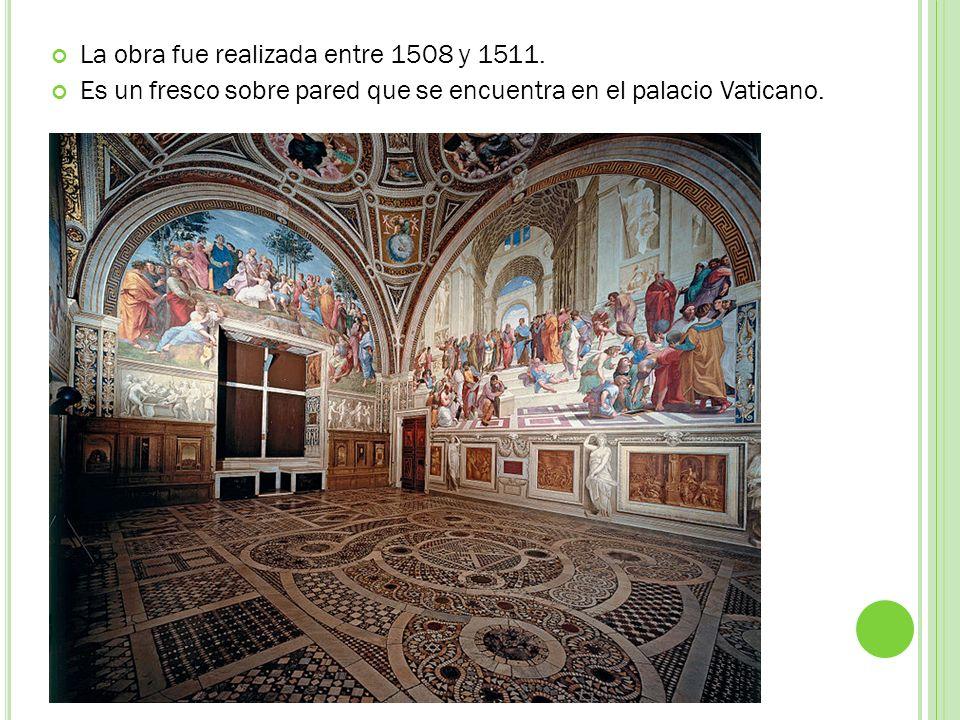 La obra fue realizada entre 1508 y 1511. Es un fresco sobre pared que se encuentra en el palacio Vaticano.