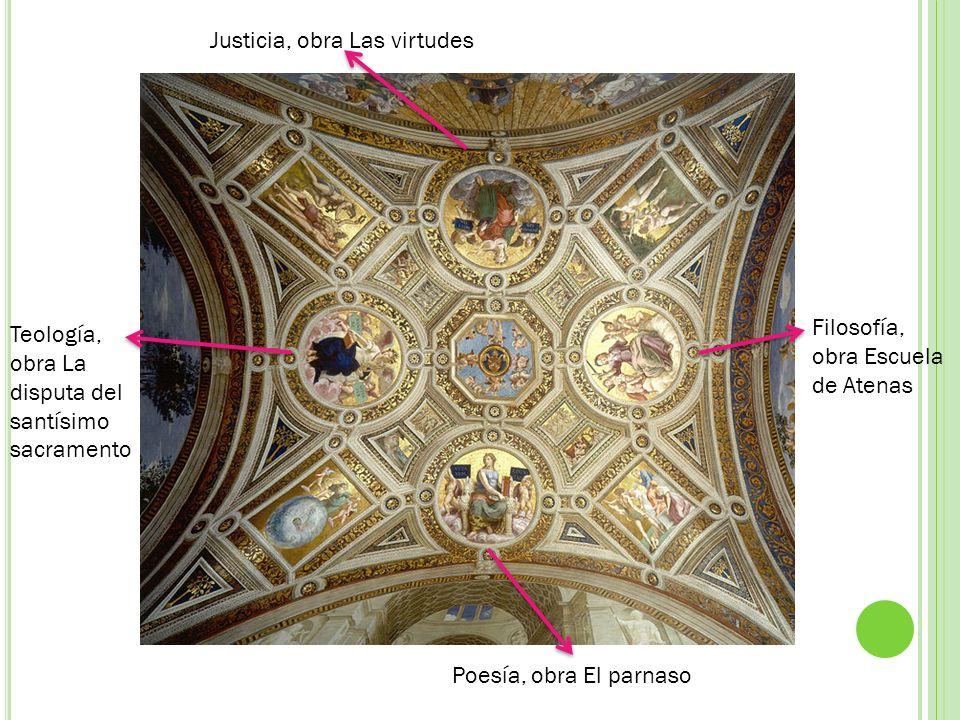 Justicia, obra Las virtudes Teología, obra La disputa del santísimo sacramento Filosofía, obra Escuela de Atenas Poesía, obra El parnaso