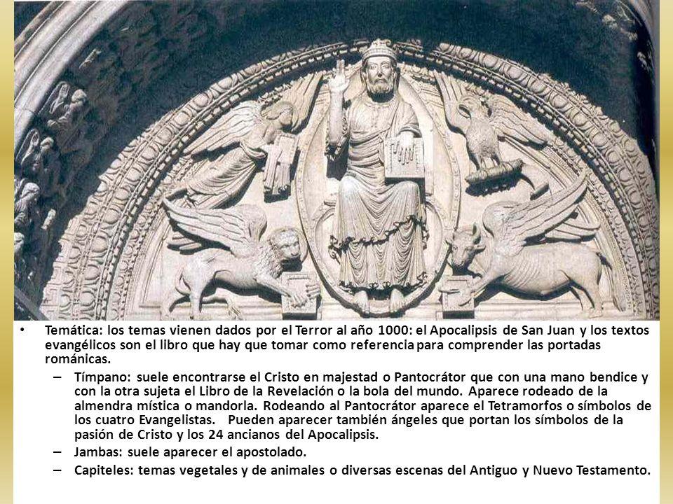 Temática: los temas vienen dados por el Terror al año 1000: el Apocalipsis de San Juan y los textos evangélicos son el libro que hay que tomar como re