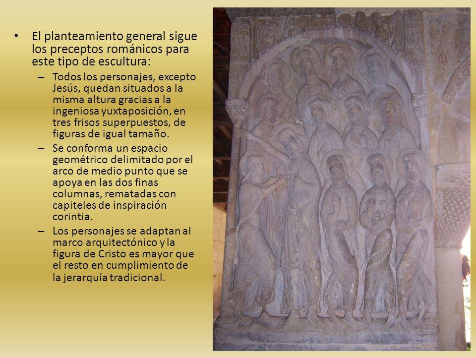 El planteamiento general sigue los preceptos románicos para este tipo de escultura: – Todos los personajes, excepto Jesús, quedan situados a la misma
