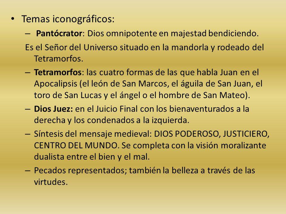 Temas iconográficos: – Pantócrator: Dios omnipotente en majestad bendiciendo. Es el Señor del Universo situado en la mandorla y rodeado del Tetramorfo