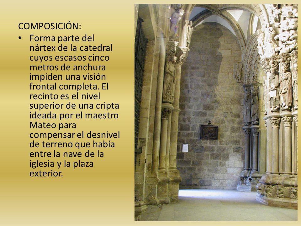 COMPOSICIÓN: Forma parte del nártex de la catedral cuyos escasos cinco metros de anchura impiden una visión frontal completa. El recinto es el nivel s