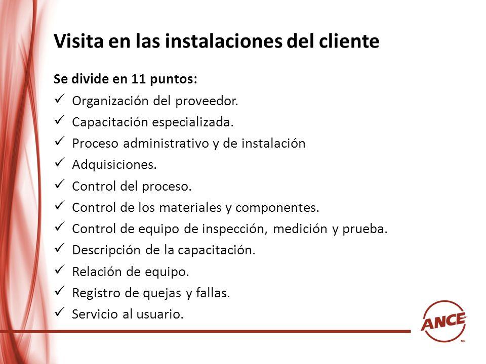Visita en las instalaciones del cliente Se divide en 11 puntos: Organización del proveedor. Capacitación especializada. Proceso administrativo y de in