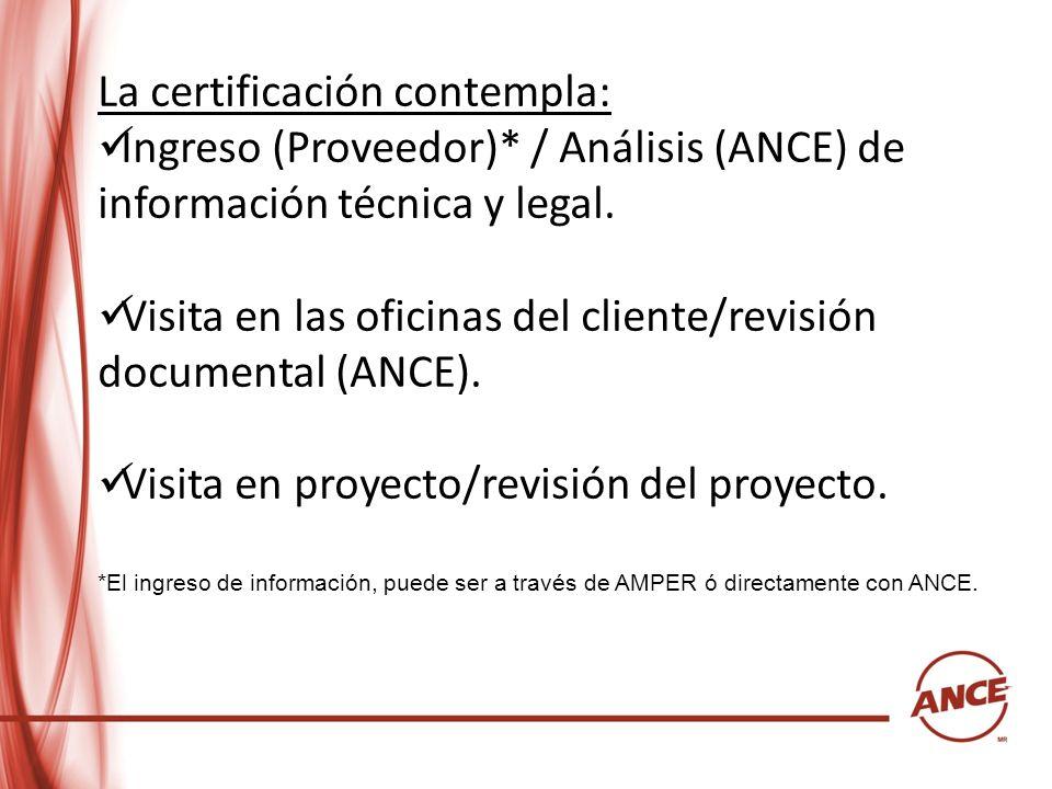 La certificación contempla: Ingreso (Proveedor)* / Análisis (ANCE) de información técnica y legal. Visita en las oficinas del cliente/revisión documen