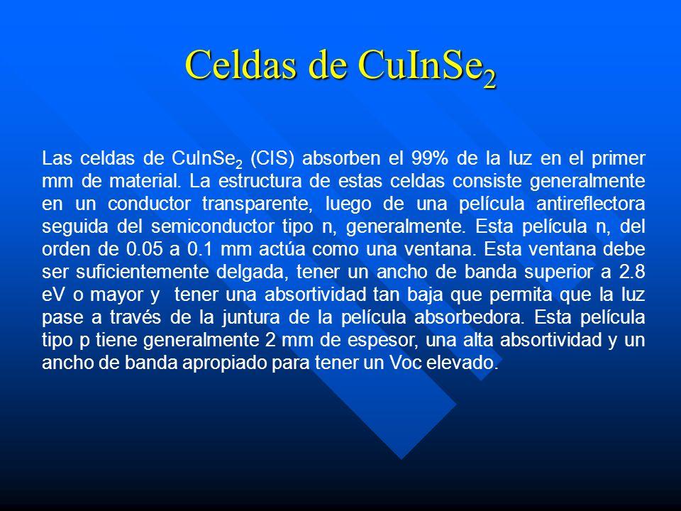 Celdas de CuInSe 2 Las celdas de CuInSe 2 (CIS) absorben el 99% de la luz en el primer mm de material. La estructura de estas celdas consiste generalm