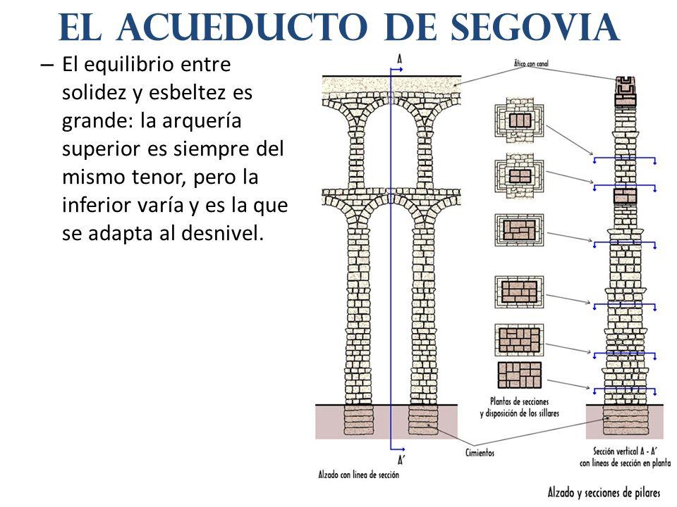 – El equilibrio entre solidez y esbeltez es grande: la arquería superior es siempre del mismo tenor, pero la inferior varía y es la que se adapta al desnivel.