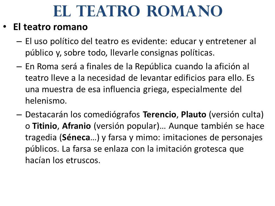 El teatro romano – El uso político del teatro es evidente: educar y entretener al público y, sobre todo, llevarle consignas políticas. – En Roma será