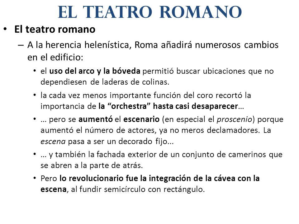 El teatro romano – A la herencia helenística, Roma añadirá numerosos cambios en el edificio: el uso del arco y la bóveda permitió buscar ubicaciones que no dependiesen de laderas de colinas.