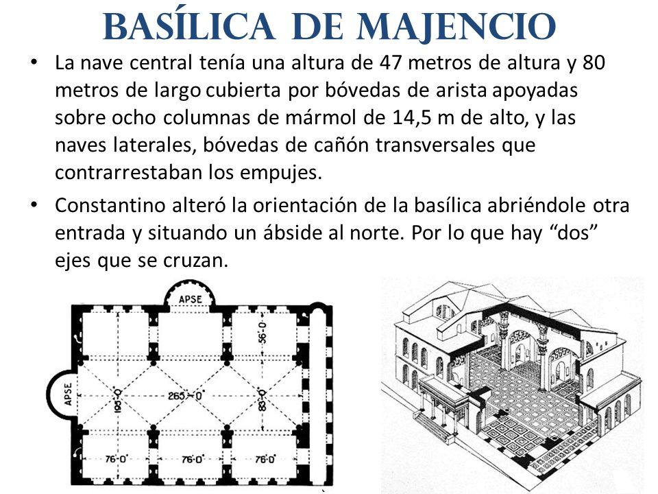 La nave central tenía una altura de 47 metros de altura y 80 metros de largo cubierta por bóvedas de arista apoyadas sobre ocho columnas de mármol de