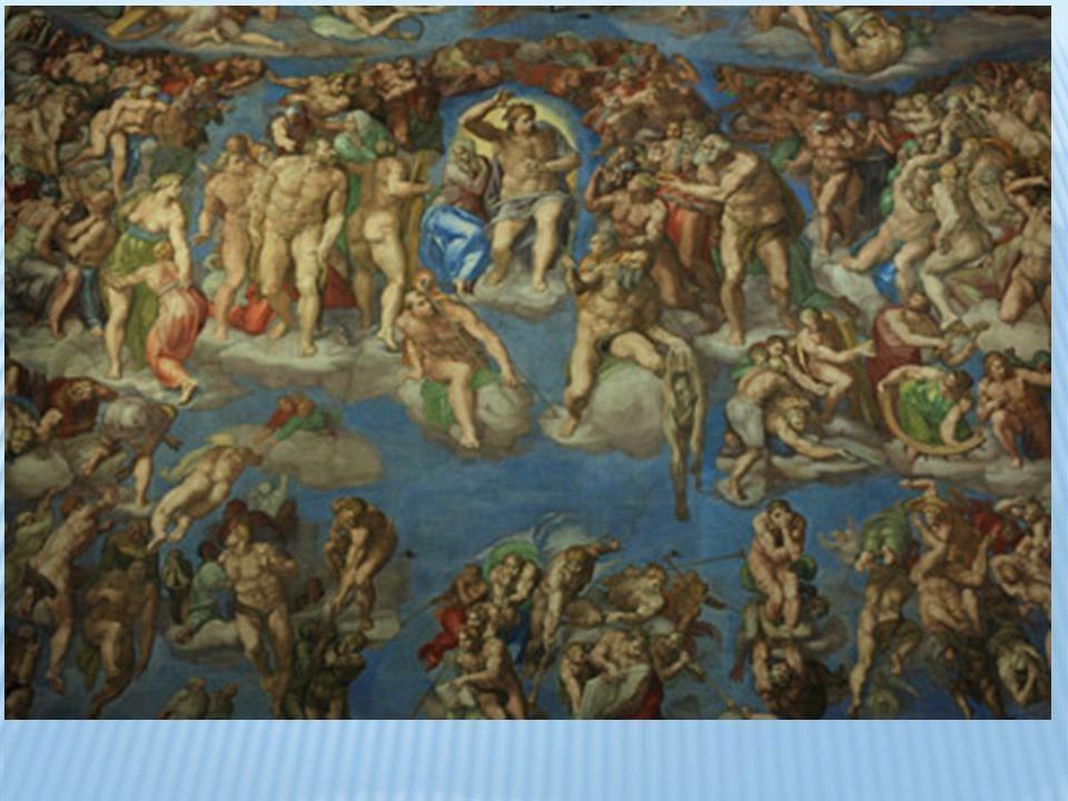 En la parte superior aparecen dos grupos de ángeles portando los símbolos de la Pasión que representan la salvación de la humanidad a través de la llegada de Cristo.