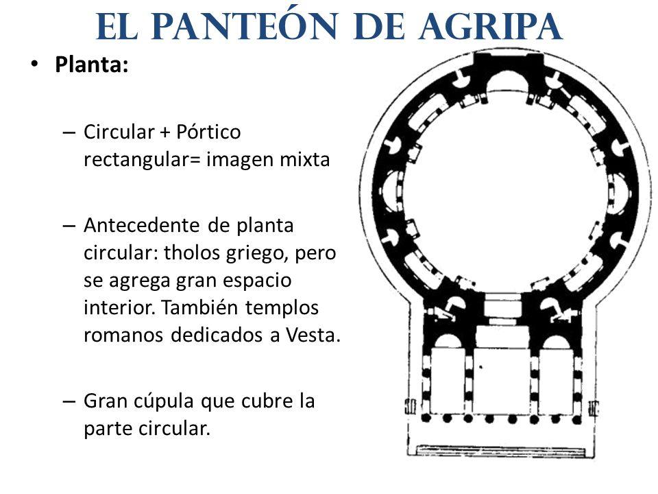 Planta: – Circular + Pórtico rectangular= imagen mixta – Antecedente de planta circular: tholos griego, pero se agrega gran espacio interior. También