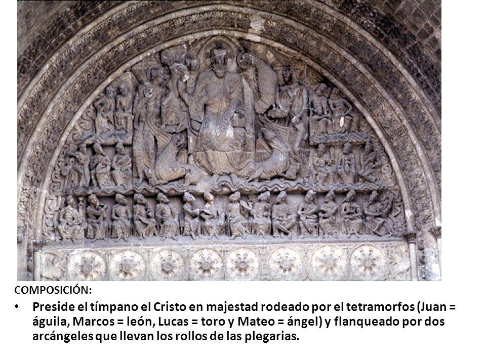COMPOSICIÓN: Preside el tímpano el Cristo en majestad rodeado por el tetramorfos (Juan = águila, Marcos = león, Lucas = toro y Mateo = ángel) y flanqu