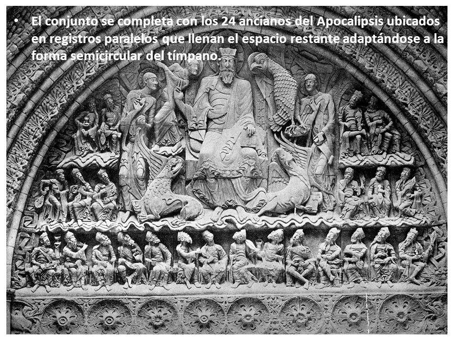 El conjunto se completa con los 24 ancianos del Apocalipsis ubicados en registros paralelos que llenan el espacio restante adaptándose a la forma semi