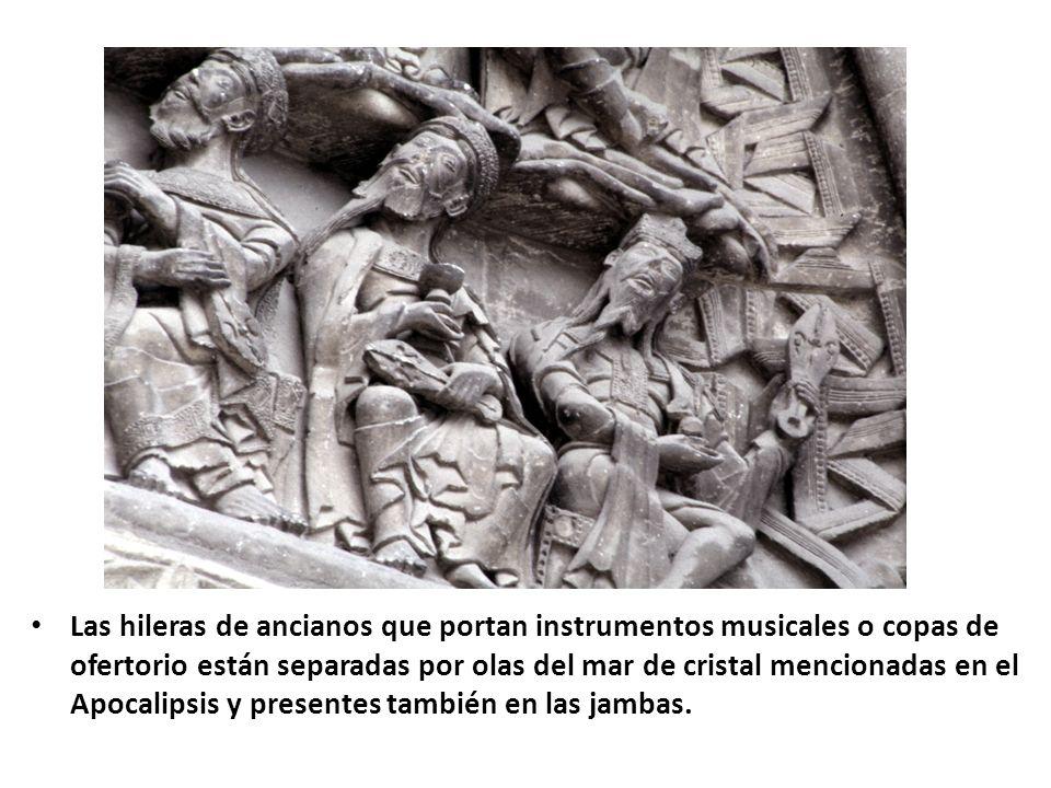 Las hileras de ancianos que portan instrumentos musicales o copas de ofertorio están separadas por olas del mar de cristal mencionadas en el Apocalips