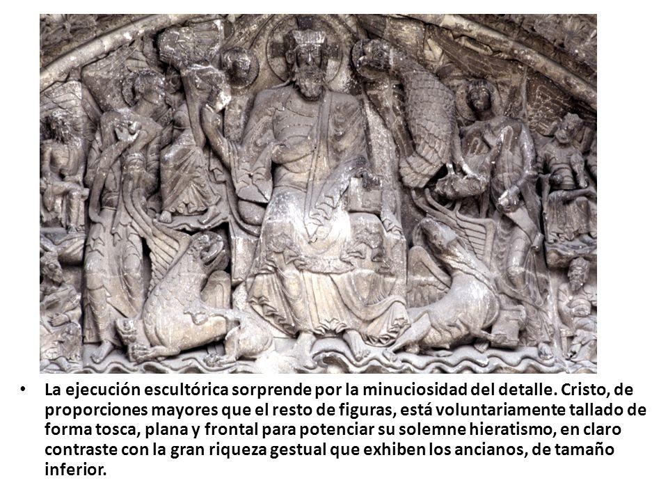 CONTENIDO: el Apocalipsis era un tema frecuente en las portadas románicas: es una alegoría del último acto de la Humanidad, el momento en que aparece Cristo como juez supremo para juzgar a los vivos y a los muertos.