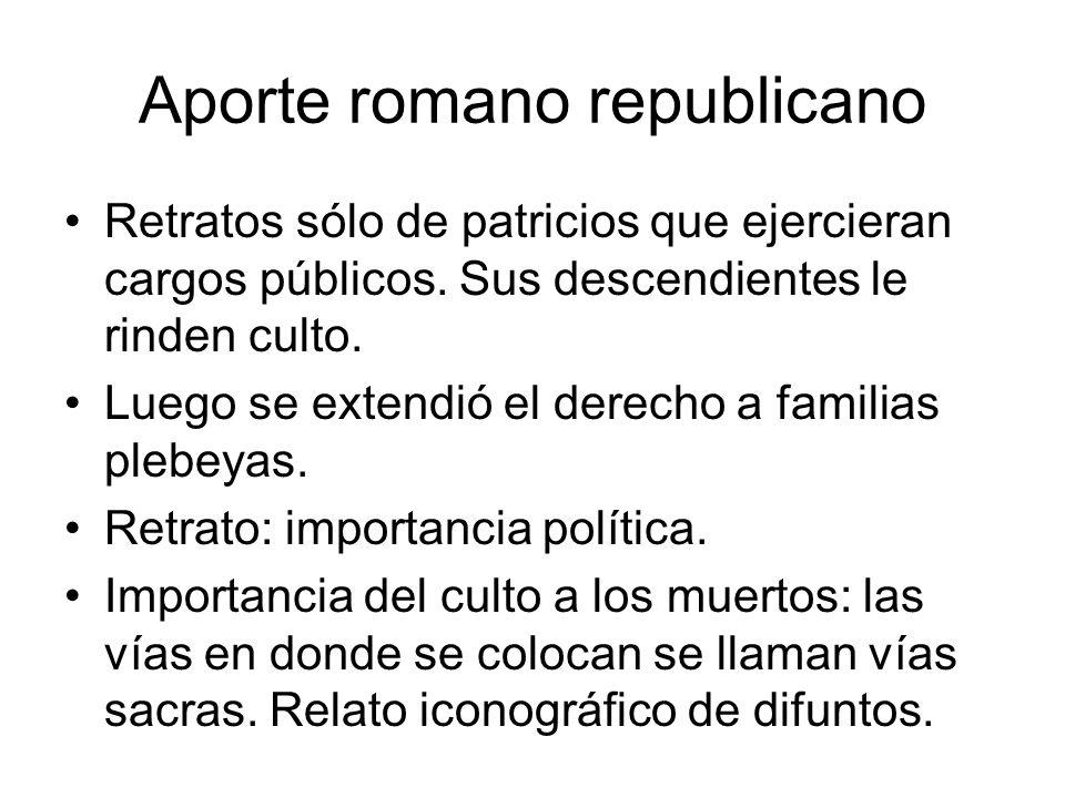 Aporte romano republicano Retratos sólo de patricios que ejercieran cargos públicos. Sus descendientes le rinden culto. Luego se extendió el derecho a