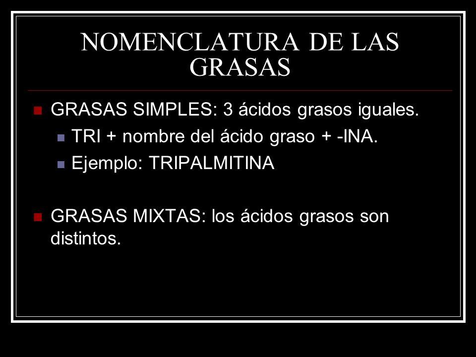 NOMENCLATURA DE LAS GRASAS GRASAS SIMPLES: 3 ácidos grasos iguales. TRI + nombre del ácido graso + -INA. Ejemplo: TRIPALMITINA GRASAS MIXTAS: los ácid