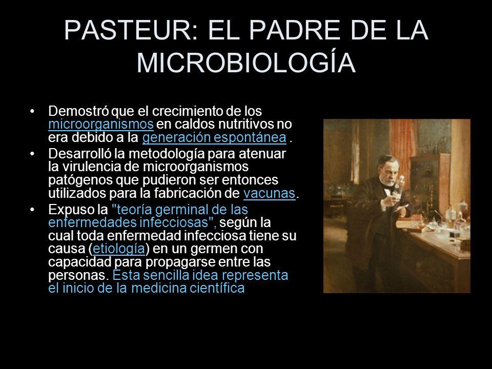 PASTEUR: EL PADRE DE LA MICROBIOLOGÍA Demostró que el crecimiento de los microorganismos en caldos nutritivos no era debido a la generación espontánea