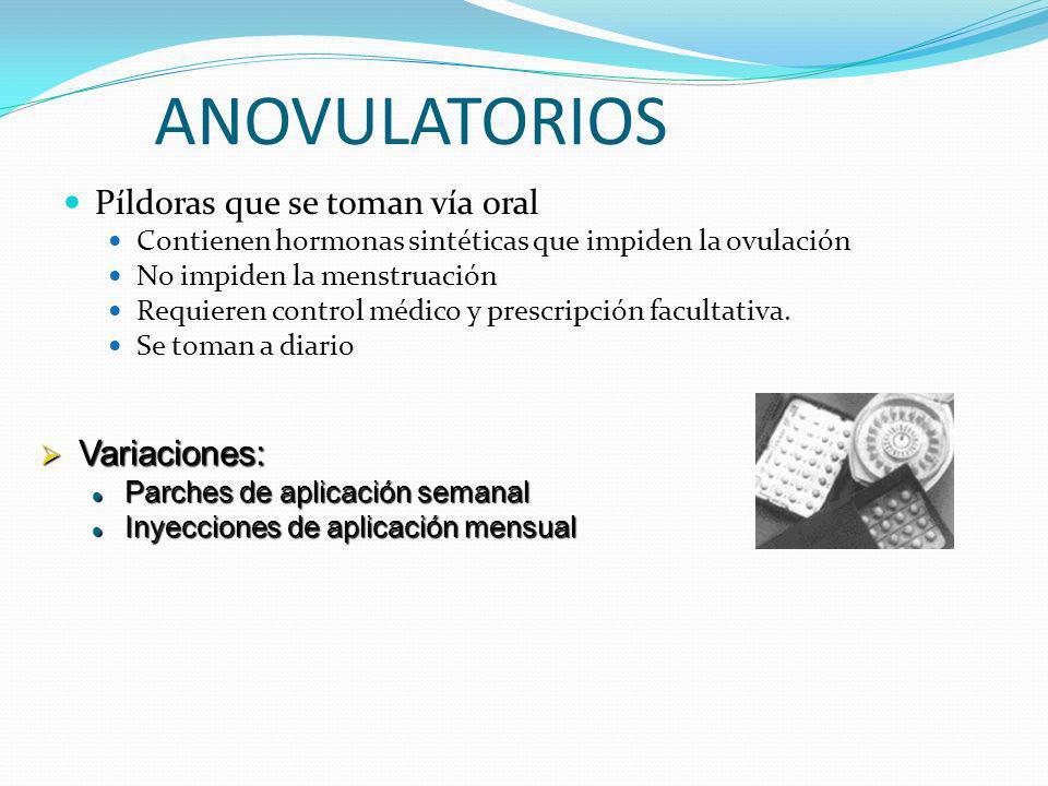 ANOVULATORIOS Píldoras que se toman vía oral Contienen hormonas sintéticas que impiden la ovulación No impiden la menstruación Requieren control médic