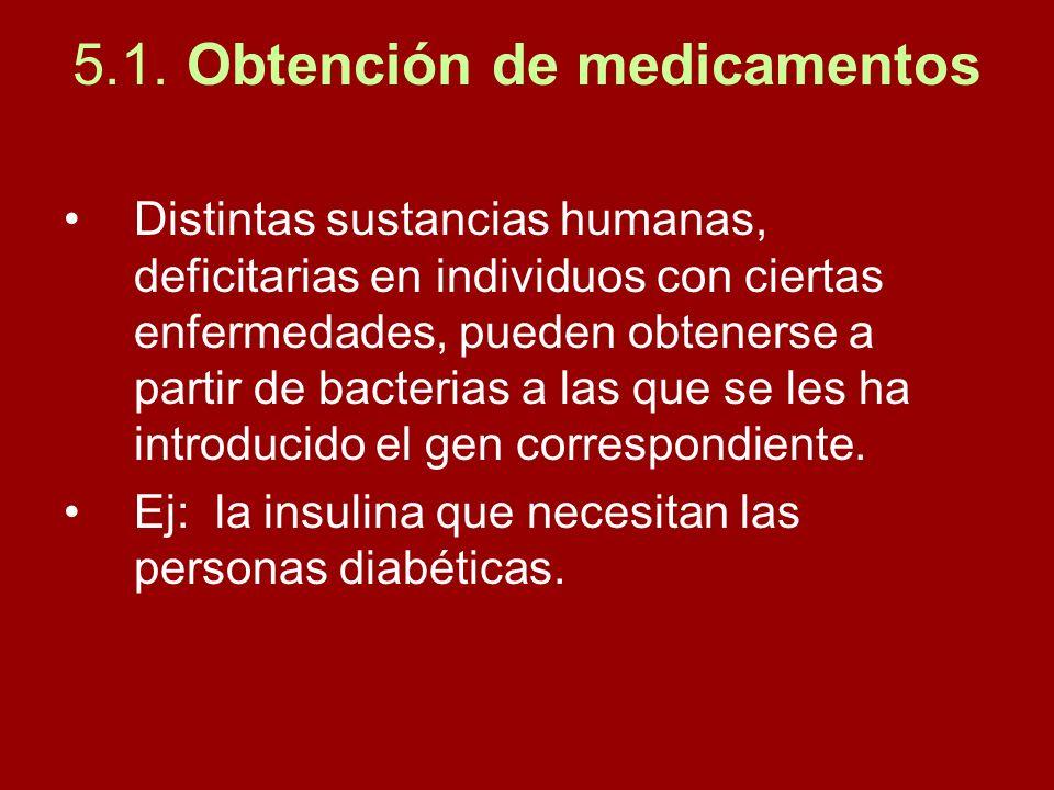 5.1. Obtención de medicamentos Distintas sustancias humanas, deficitarias en individuos con ciertas enfermedades, pueden obtenerse a partir de bacteri