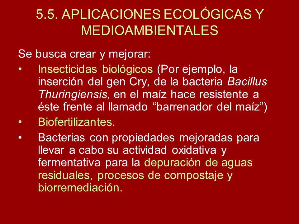 5.5. APLICACIONES ECOLÓGICAS Y MEDIOAMBIENTALES Se busca crear y mejorar: Insecticidas biológicos (Por ejemplo, la inserción del gen Cry, de la bacter