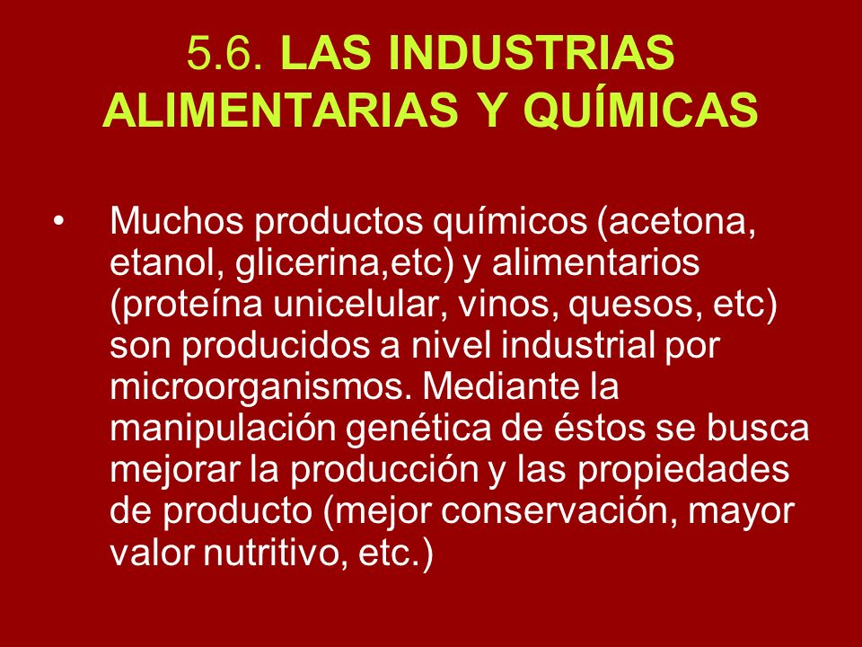 5.6. LAS INDUSTRIAS ALIMENTARIAS Y QUÍMICAS Muchos productos químicos (acetona, etanol, glicerina,etc) y alimentarios (proteína unicelular, vinos, que