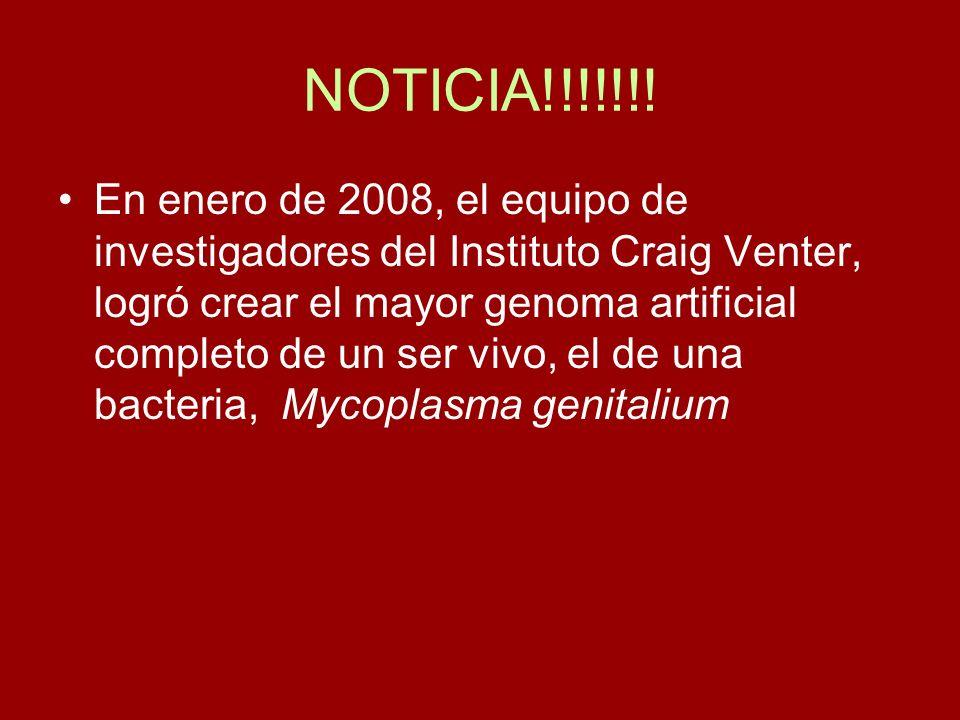 NOTICIA!!!!!!! En enero de 2008, el equipo de investigadores del Instituto Craig Venter, logró crear el mayor genoma artificial completo de un ser viv