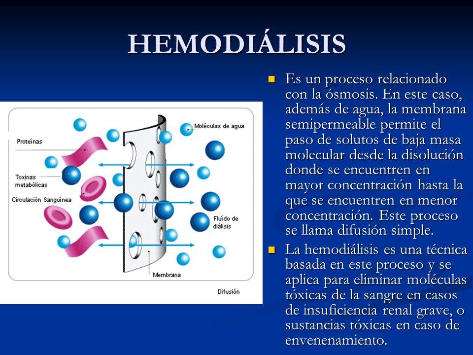 HEMODIÁLISIS Es un proceso relacionado con la ósmosis. En este caso, además de agua, la membrana semipermeable permite el paso de solutos de baja masa