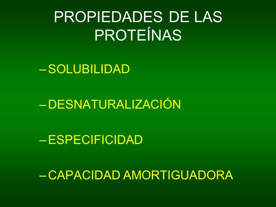 PROPIEDADES DE LAS PROTEÍNAS –SOLUBILIDAD –DESNATURALIZACIÓN –ESPECIFICIDAD –CAPACIDAD AMORTIGUADORA