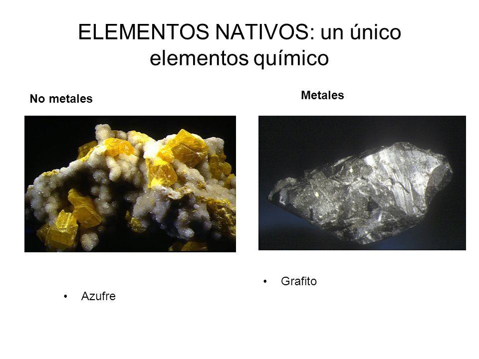 ELEMENTOS NATIVOS: un único elementos químico Grafito No metales Metales Azufre