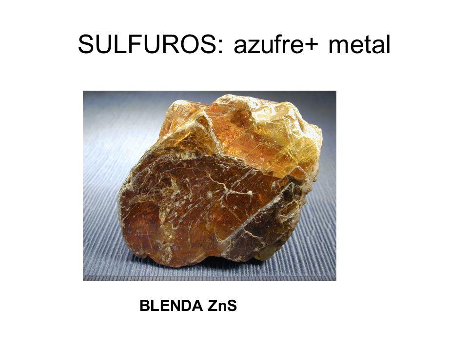 SULFUROS: azufre+ metal BLENDA ZnS