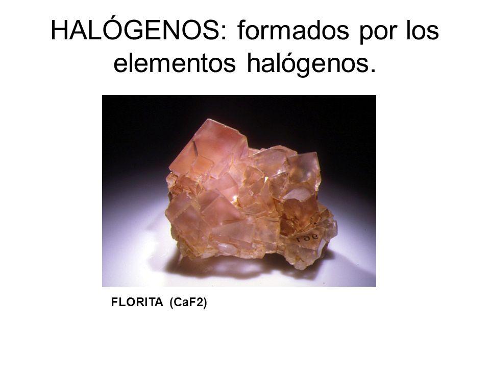 HALÓGENOS: formados por los elementos halógenos. FLORITA (CaF2)