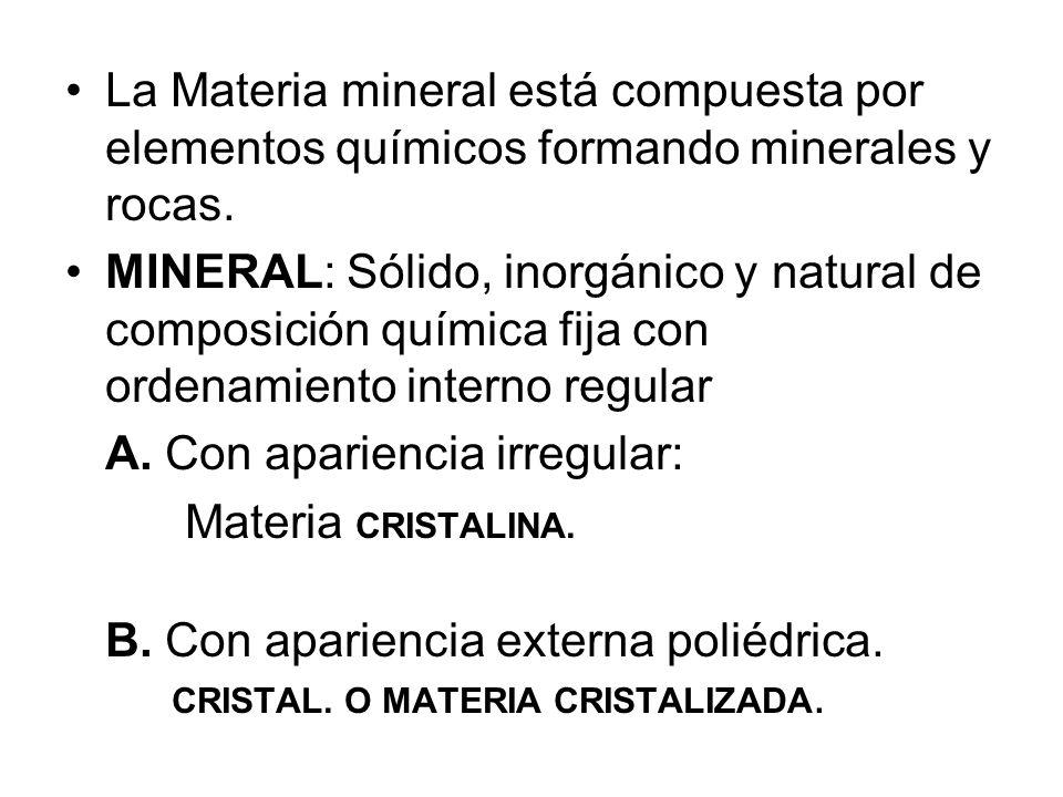 La Materia mineral está compuesta por elementos químicos formando minerales y rocas. MINERAL: Sólido, inorgánico y natural de composición química fija