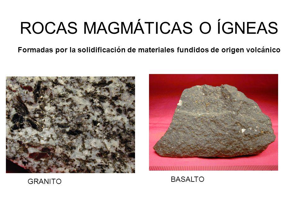 ROCAS MAGMÁTICAS O ÍGNEAS GRANITO BASALTO Formadas por la solidificación de materiales fundidos de origen volcánico