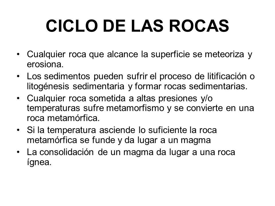 CICLO DE LAS ROCAS Cualquier roca que alcance la superficie se meteoriza y erosiona. Los sedimentos pueden sufrir el proceso de litificación o litogén