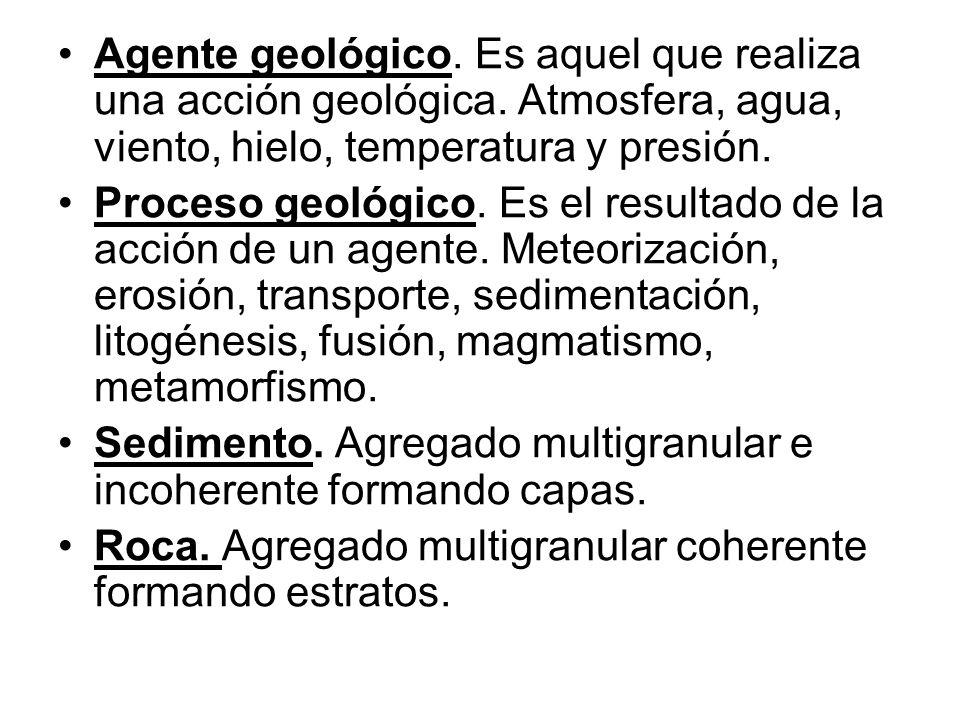 Agente geológico. Es aquel que realiza una acción geológica. Atmosfera, agua, viento, hielo, temperatura y presión. Proceso geológico. Es el resultado
