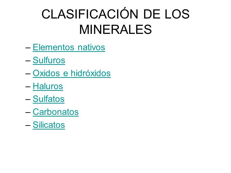 CLASIFICACIÓN DE LOS MINERALES –Elementos nativos Elementos nativos –SulfurosSulfuros –Oxidos e hidróxidosOxidos e hidróxidos –HalurosHaluros –Sulfato