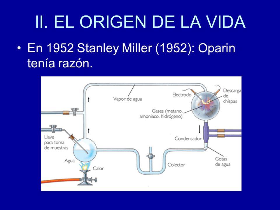 II. EL ORIGEN DE LA VIDA En 1952 Stanley Miller (1952): Oparin tenía razón.