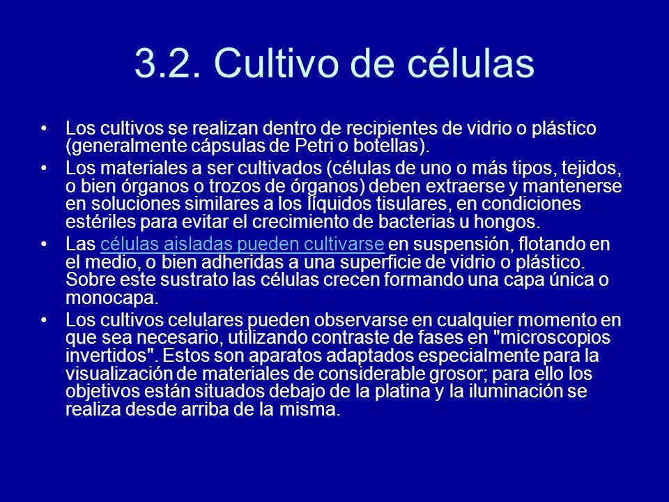 3.2. Cultivo de células Los cultivos se realizan dentro de recipientes de vidrio o plástico (generalmente cápsulas de Petri o botellas). Los materiale