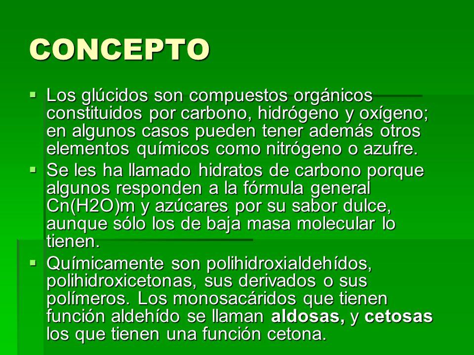 CONCEPTO Los glúcidos son compuestos orgánicos constituidos por carbono, hidrógeno y oxígeno; en algunos casos pueden tener además otros elementos quí