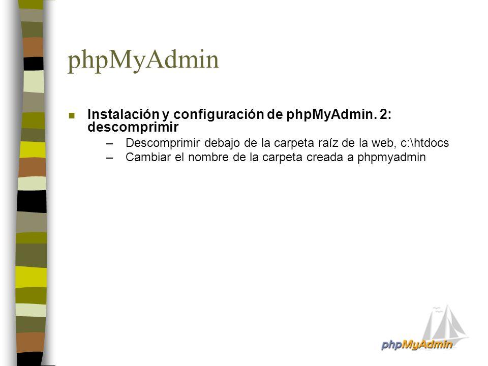 phpMyAdmin n Instalación y configuración de phpMyAdmin. 2: descomprimir –Descomprimir debajo de la carpeta raíz de la web, c:\htdocs –Cambiar el nombr