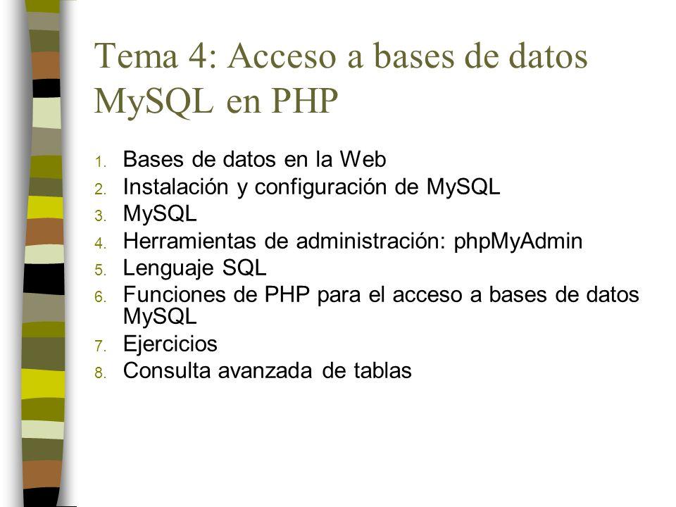 Tema 4: Acceso a bases de datos MySQL en PHP 1. Bases de datos en la Web 2. Instalación y configuración de MySQL 3. MySQL 4. Herramientas de administr
