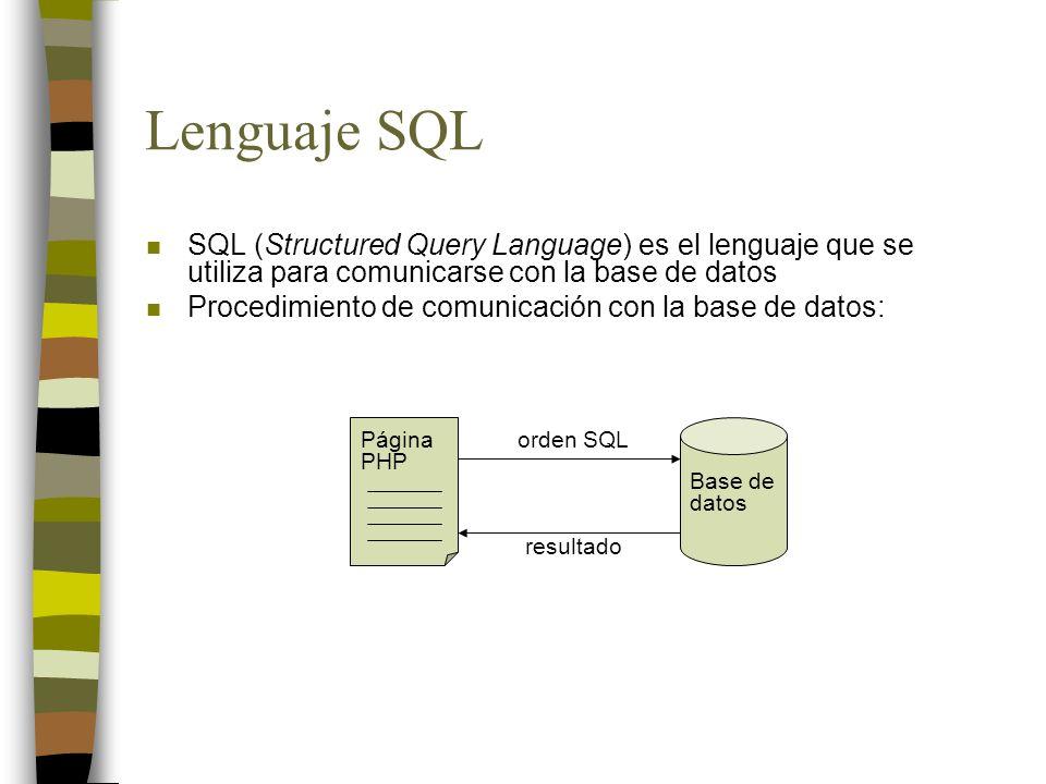 Lenguaje SQL n SQL (Structured Query Language) es el lenguaje que se utiliza para comunicarse con la base de datos n Procedimiento de comunicación con