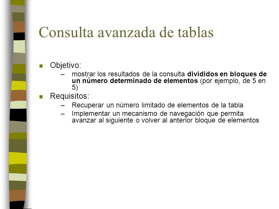 Consulta avanzada de tablas n Objetivo: –mostrar los resultados de la consulta divididos en bloques de un número determinado de elementos (por ejemplo