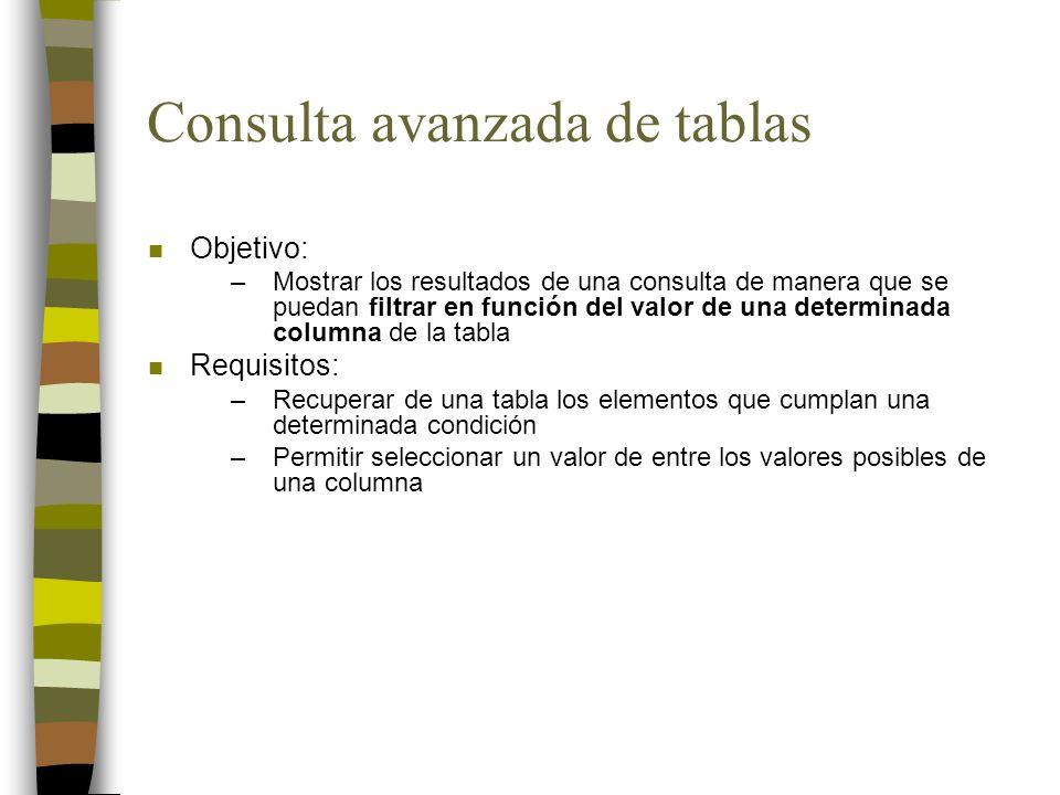 Consulta avanzada de tablas n Objetivo: –Mostrar los resultados de una consulta de manera que se puedan filtrar en función del valor de una determinad