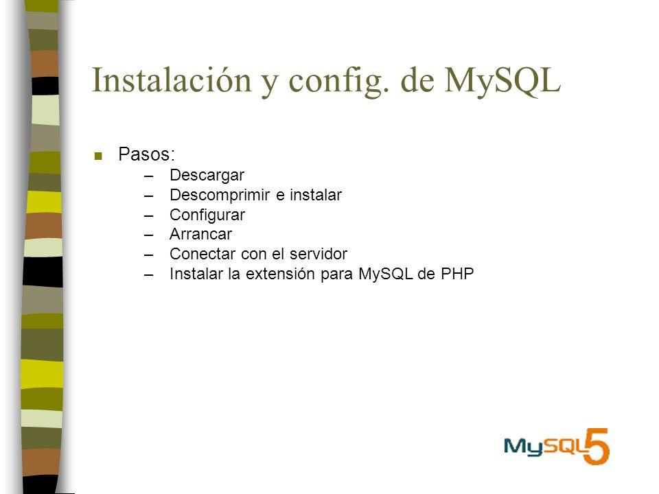 Instalación y config. de MySQL n Pasos: –Descargar –Descomprimir e instalar –Configurar –Arrancar –Conectar con el servidor –Instalar la extensión par