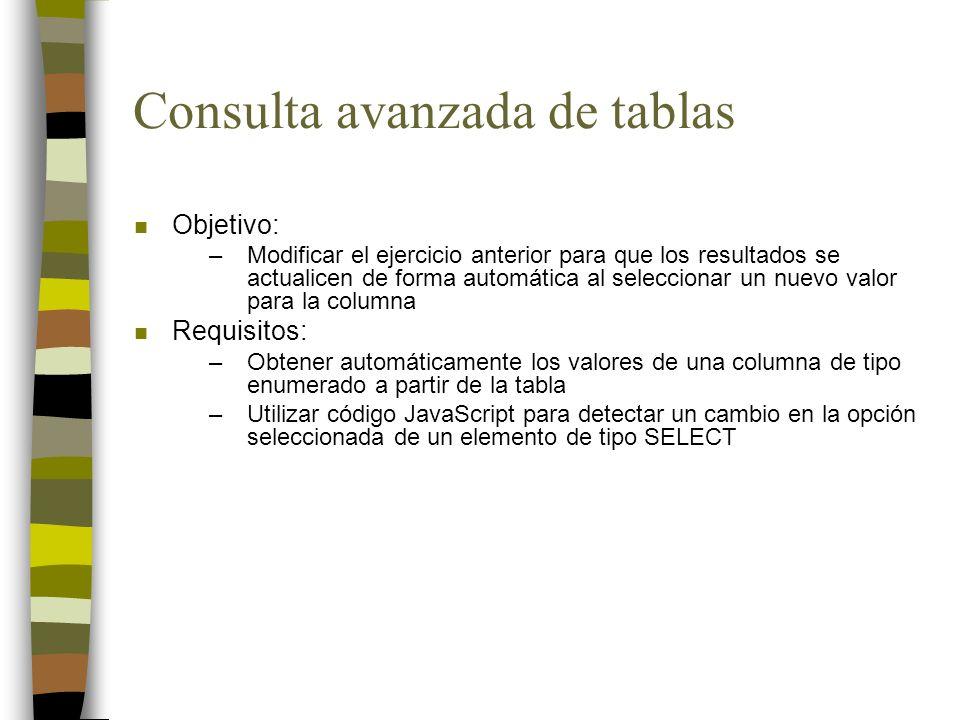 Consulta avanzada de tablas n Objetivo: –Modificar el ejercicio anterior para que los resultados se actualicen de forma automática al seleccionar un n