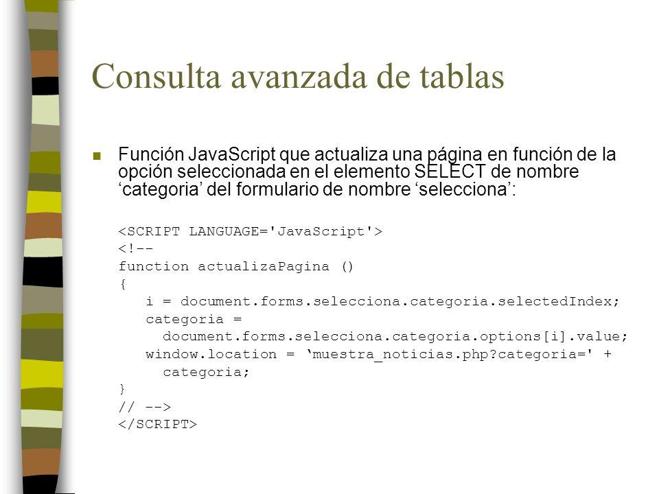 Consulta avanzada de tablas n Función JavaScript que actualiza una página en función de la opción seleccionada en el elemento SELECT de nombre categor