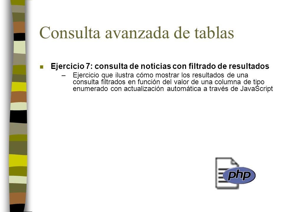 Consulta avanzada de tablas n Ejercicio 7: consulta de noticias con filtrado de resultados –Ejercicio que ilustra cómo mostrar los resultados de una c